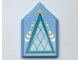 Part No: 22385pb182  Name: Tile, Modified 2 x 3 Pentagonal with White and Dark Turquoise Triangle and Gold Highlights Pattern