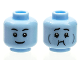 Part No: 3626cpb2786  Name: Minifigure, Head Dual Sided Black Eyebrows, Grin / Queasy with Dark Bluish Gray Cheek Lines Pattern - Hollow Stud (BAM)