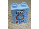 Part No: 4066pb470  Name: Duplo, Brick 1 x 2 x 2 with White 'TTA' and Orange and Blue Circle and Buttons on Blue Honeycomb Pattern