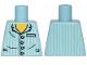 Part No: 973pb1024  Name: Torso Pajamas 4 Buttons and Vertical Light Aqua Stripes Pattern