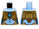 Part No: 973pb1366  Name: Torso Chima Female Outline with Gold Scaled Armor and Blue Round Jewel (Chi) Pattern