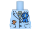 Part No: 973pb2398  Name: Torso Suit Jacket with Blue and Gold Striped Tie, Blue 1st Place Ribbon, Dog Treat in Pocket Pattern