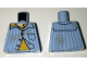 Part No: 973pb2469  Name: Torso Pajamas with Vertical Blue Stripes, Yellow Undershirt and Spots Pattern