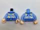 Part No: 973pb2573c01  Name: Torso Medium Blue Collar and Belt, Gold Zodiac Symbols Pattern / Bright Light Blue Arms with Gold Zodiac Signs Pattern / Light Flesh Hands