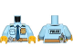 Part No: 973pb2600c01  Name: Torso Police Shirt with Gold Badge, Dark Blue Tie, Dark Tan Belt and 'POLICE' and Radio on Back Pattern / Bright Light Blue Arms / Yellow Hands