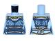 Part No: 973pb2620  Name: Torso Ninjago Female Outline Dark Blue Apron with Light Bluish Gray Sash, Gold Necklace Pattern
