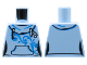 Part No: 973pb2680  Name: Torso Female Hoodie with White Laces, Blue Scrollwork, Kangaroo Pocket and Back Print Pattern