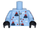 Part No: 973pb2798c01  Name: Torso Pajamas with Volcanoes with Lava and Fire and White Clouds Pattern / Bright Light Blue Arms with Volcano Pajamas Pattern / Black Hands