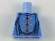 Part No: 973pb3238  Name: Torso Robes with 3 Silver Frog Clasps, Medium Blue Details, Medium Nougat Belt Pattern