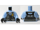 Part No: 973pb3376c01  Name: Torso Police Black Pilot Safety Vest with Police Badge and Dark Bluish Gray Pockets Pattern / Bright Light Blue Arms / Black Hands