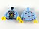 Part No: 973pb3648c01  Name: Torso Shirt with Space Theme Logos and Dark Bluish Gray T-Shirt Pattern / Bright Light Blue Arms with Space Themes Logos Pattern / Yellow Hands