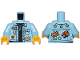 Part No: 973pb3668c01  Name: Torso Denim Jacket over Black Shirt with Badges and Silver Necklace with 'P' Pendant Pattern / Bright Light Blue Arms / Yellow Hands