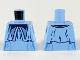 Part No: 973pb3672  Name: Torso Female Dark Blue Bow Tie and Long Collar Ruffle Pattern