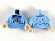 Part No: 973pb3672c01  Name: Torso Female Dark Blue Bowtie and Long Collar Ruffle Pattern / Bright Light Blue Arms / Light Flesh Hands