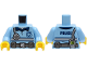 Part No: 973pb4116c01  Name: Torso Police Shirt with Silver and Dark Blue Stripes, Utility Belt, Radio and 'POLICE' on Back Pattern / Bright Light Blue Arms / Yellow Hands