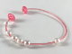 Part No: clikits194  Name: Clikits Cord, Jelly String with 2 Caps - 155mm with 6 Round Pearl White Beads - top attachment