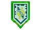 Part No: 22385pb096  Name: Tile, Modified 2 x 3 Pentagonal with Nexo Power Shield Pattern - Time Breach (Dark Green Border)