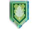 Part No: 22385pb111  Name: Tile, Modified 2 x 3 Pentagonal with Nexo Power Shield Pattern - Tech Tree