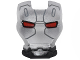 Part No: 10908pb11  Name: Minifigure, Visor Top Hinge with Silver Face Shield, Red Eyes and Black Lines and Shapes Pattern