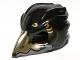 Part No: 12550pb01  Name: Minifigure, Headgear Mask Bird (Raven) with Gold Beak and Gold Markings Pattern