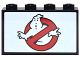 Part No: 14718pb007  Name: Panel 1 x 4 x 2 with Side Supports - Hollow Studs with Ghostbusters Logo Pattern (Sticker) - Set 71242