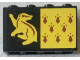 Part No: 14718pb014  Name: Panel 1 x 4 x 2 with Side Supports - Hollow Studs with 8 Red Spires and Yellow Badger on Black Background Pattern (Sticker) - Set 75956