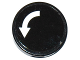 Part No: 14769pb171  Name: Tile, Round 2 x 2 with Bottom Stud Holder with White Curved Arrow on Black Background Pattern (Sticker) - Set 60104