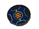 Part No: 14769pb215  Name: Tile, Round 2 x 2 with Bottom Stud Holder with Three Orange Bars inside Dark Blue Cross Pattern (Sticker) - Set 70326