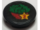 Part No: 14769pb279  Name: Tile, Round 2 x 2 with Bottom Stud Holder with Salad in Bowl and Red Number 3 in Star Pattern (Sticker) - Set 41311
