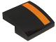 Part No: 15068pb042L  Name: Slope, Curved 2 x 2 with Orange Stripe on Left Edge on Black Background Pattern (Sticker) - Set 75102