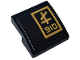 Part No: 15068pb242R  Name: Slope, Curved 2 x 2 with Gold '910' and Ninjago Logogram 'L' in Gold Rectangle Pattern Model Right Side (Sticker) - Set 70612