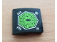 Part No: 15068pb251  Name: Slope, Curved 2 x 2 with Lime Heptagon and Spider Fangs Symbols Pattern (Sticker) - Set 70130