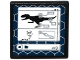 Part No: 15210pb004  Name: Road Sign Clip-on 2 x 2 Square Open O Clip with Indominus rex Silhouette, DNA Double Helix and '4/9' on Computer Screen Pattern (Sticker) - Set 75919
