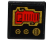Part No: 15210pb021  Name: Road Sign Clip-on 2 x 2 Square Open O Clip with Red Screen, 2 Gold Knobs and Speaker Grille Pattern (Sticker) - Set 70738