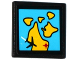 Part No: 15210pb026  Name: Road Sign Clip-on 2 x 2 Square Open O Clip with Map and Black Airplane Pattern (Sticker) - Set 60102