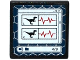 Part No: 15210pb051  Name: Road Sign Clip-on 2 x 2 Square Open O Clip with 2 Raptor Silhouettes, Heart Monitor Line and '4/9' on Computer Screen Pattern (Sticker) - Set 75917