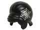 Part No: 15503pb01  Name: Minifigure, Hair Female Beehive Style with Sideways Fringe with Silver Spider in Web Pattern