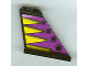 Part No: 2340pb032  Name: Tail 4 x 1 x 3 with Yellow Triangles and Black Circles on Purple Background Pattern on Both Sides (Stickers) - Set 8268