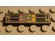 Part No: 2431pb034  Name: Tile 1 x 4 with Dark Gray Background, Yellow and Black Controls Pattern (Sticker) - Set 8448