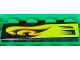Part No: 2431pb232L  Name: Tile 1 x 4 with Lime Swirls and Air Intake Pattern Model Left Side (Sticker) - Set 8681