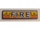 Part No: 2431pb435  Name: Tile 1 x 4 with Black 'FIRE' and Orange and Yellow Flames Pattern (Sticker) - Set 8253