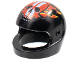 Part No: 2446pb30  Name: Minifigure, Headgear Helmet Standard with Flames and Red Skull with White Stripes Pattern