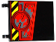 Part No: 2525pb010R  Name: Flag 6 x 4 with Black and Yellow Danger Stripes, Hatch with 4 Screws and Dark Bluish Gray Splatters Pattern Model Right Side (Sticker) - Set 70750