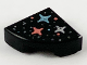 Part No: 25269pb009  Name: Tile, Round 1 x 1 Quarter with Silver, Metallic Light Blue, and Coral Stars and Dots Pattern
