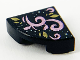 Part No: 25269pb012  Name: Tile, Round 1 x 1 Quarter with Shiny Pink Vine and Gold Leaves Pattern