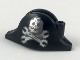 Part No: 2528pb13  Name: Minifigure, Headgear Hat, Pirate Bicorne with Silver Minifigure Skull with Half Mask and Wrenches Crossbones Pattern
