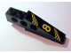 Part No: 2744pb017R  Name: Technic Slope Long with Yellow '8' and Bent Stripes Pattern Model Right (Sticker) - Set 8425