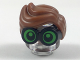 Part No: 28149pb04  Name: Minifigure, Hair Combo, Large Thick Glasses with Reddish Brown Hair, Parted and Wavy with Bright Green Lenses, Pupils Looking Forward Pattern
