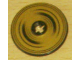 Part No: 2958pb015  Name: Technic, Disk 3 x 3 with Black Half Circle Rings on Gold Background Pattern (Sticker) - Set 8007