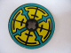 Part No: 2958pb031  Name: Technic, Disk 3 x 3 with Dark Turquoise, Yellow and Black Pattern both sides (Stickers) - Set 8269